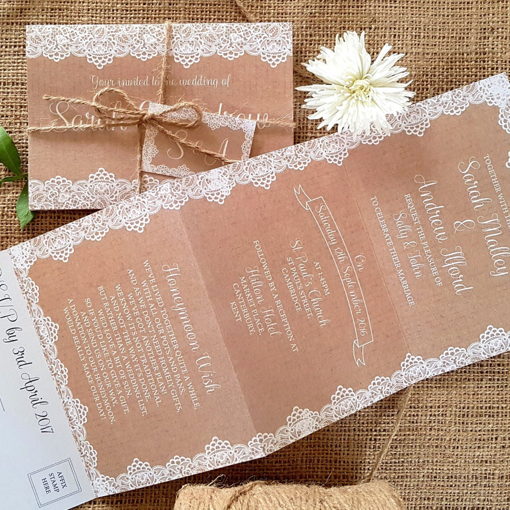 Lace Concertina Wedding and Evening Invitation