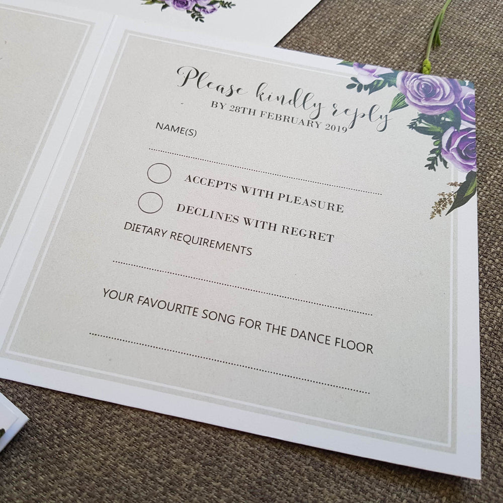 Lavender Rose Trifold Wedding Invitations , Sienna Mai Personalised Wedding Invitations