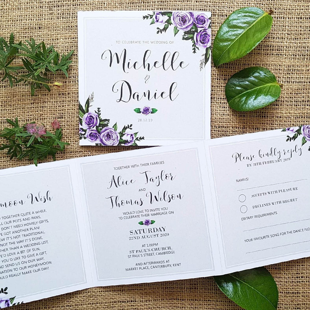 Lavender Rose Trifold Wedding and Evening Invitation