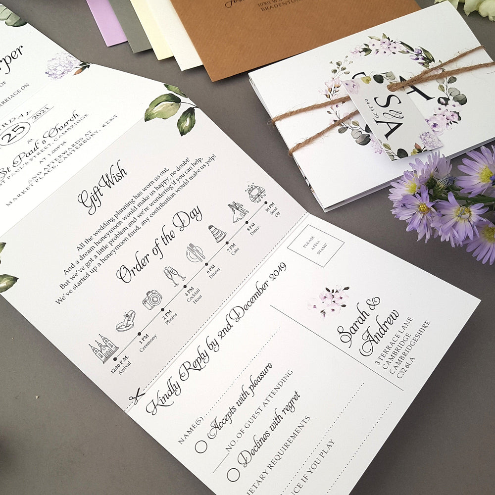 Lilac Floral Concertina Wedding Invitations , Sienna Mai Personalised Wedding Invitations