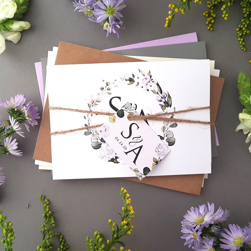 Lilac Floral Concertina Wedding Invitations