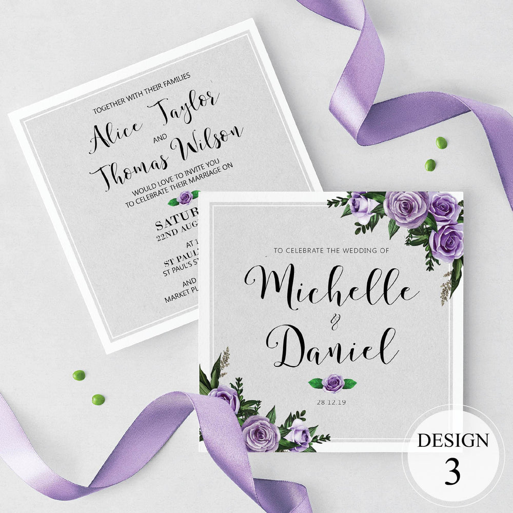 Lilac Floral Wedding Invites