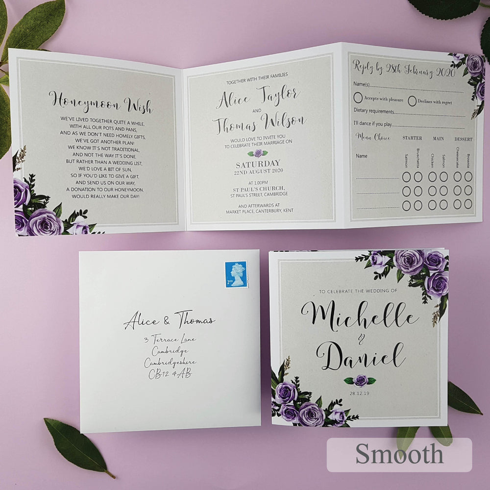 Lilac Roses Trifold Wedding and Evening Invitation