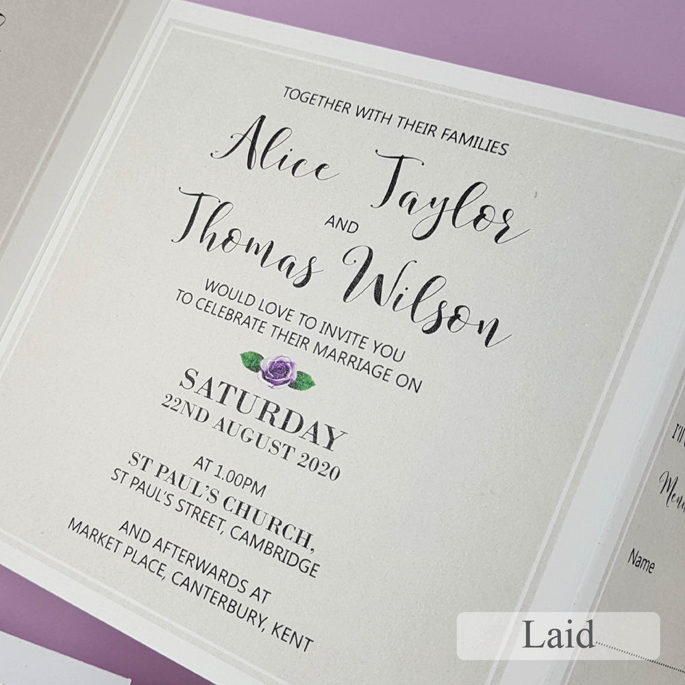 Lilac Roses Trifold Wedding Invitation , Sienna Mai Personalised Wedding Invitations
