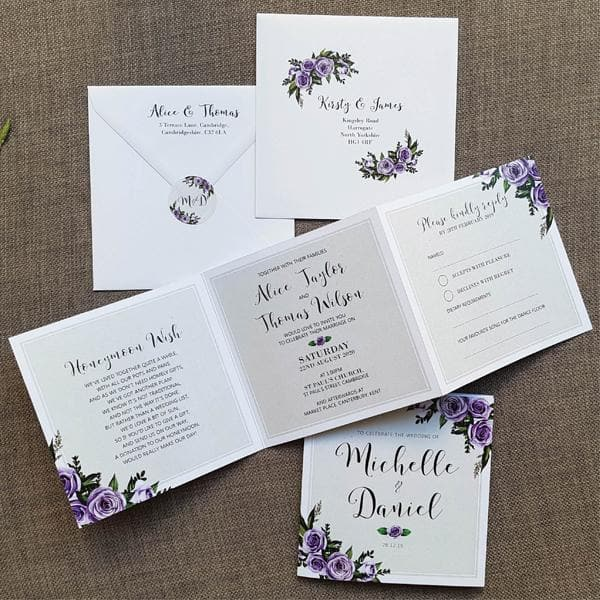 Lilac Roses Trifold Wedding Invitations Sample