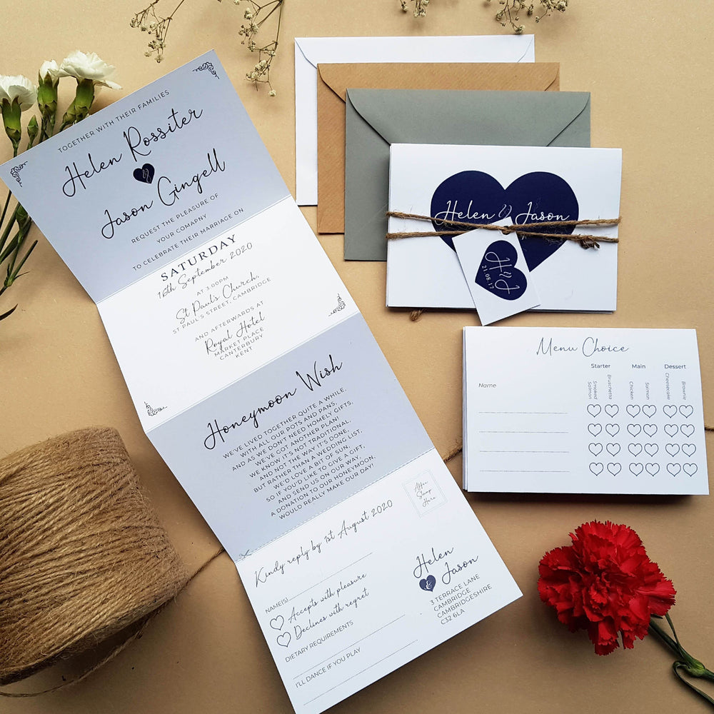 Love Heart Concertina Wedding and Evening Invitation