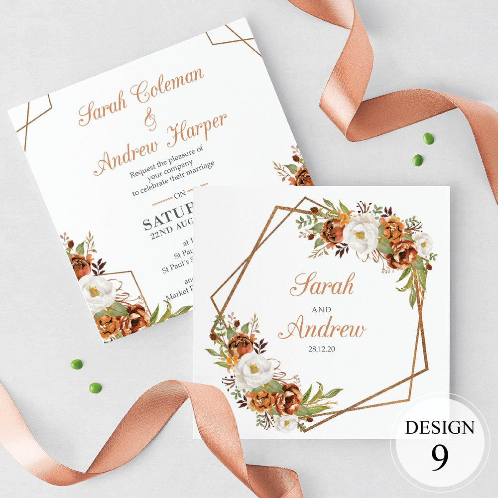Metallic Copper Floral Wedding Invite