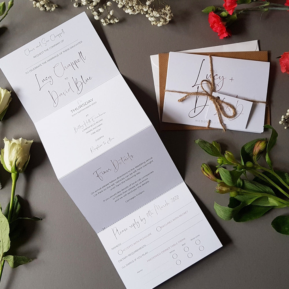 Minimalist Concertina Wedding Invitations