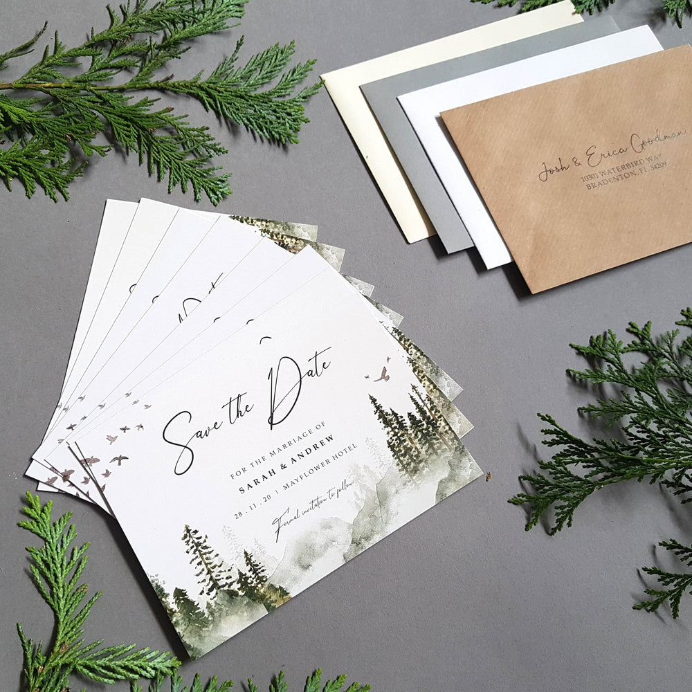 Misty forest save the date cards , Sienna Mai Personalised Wedding Invitations