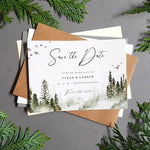 Misty forest save the date cards