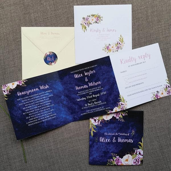 Navy Blue Floral Trifold Wedding Invitations Sample