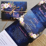 Navy Blush Floral  Concertina Wedding Invitations Sample