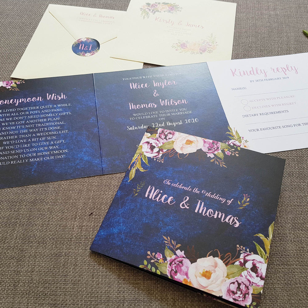 Navy Floral Trifold Wedding Invites , Sienna Mai Personalised Wedding Invitations