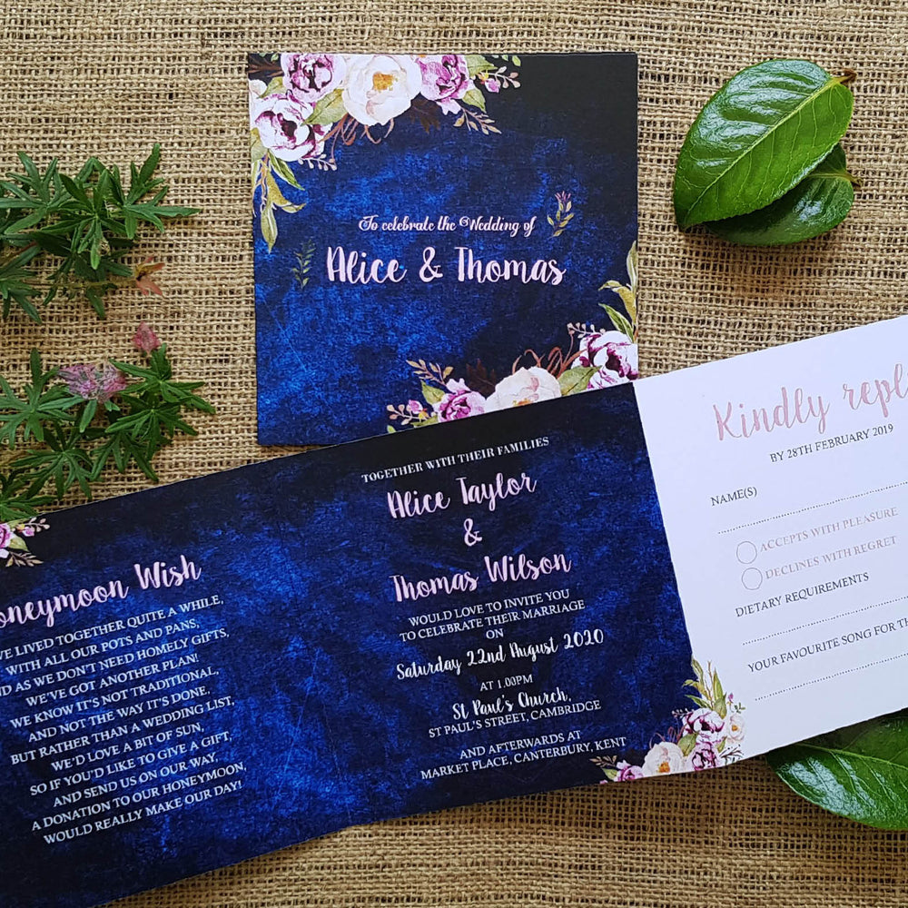 Navy Floral Trifold Wedding Invites