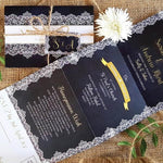 Navy Lace Concertina Wedding Invitations Sample , Sienna Mai Personalised Wedding Invitations