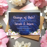 Navy & Pink change of date cards