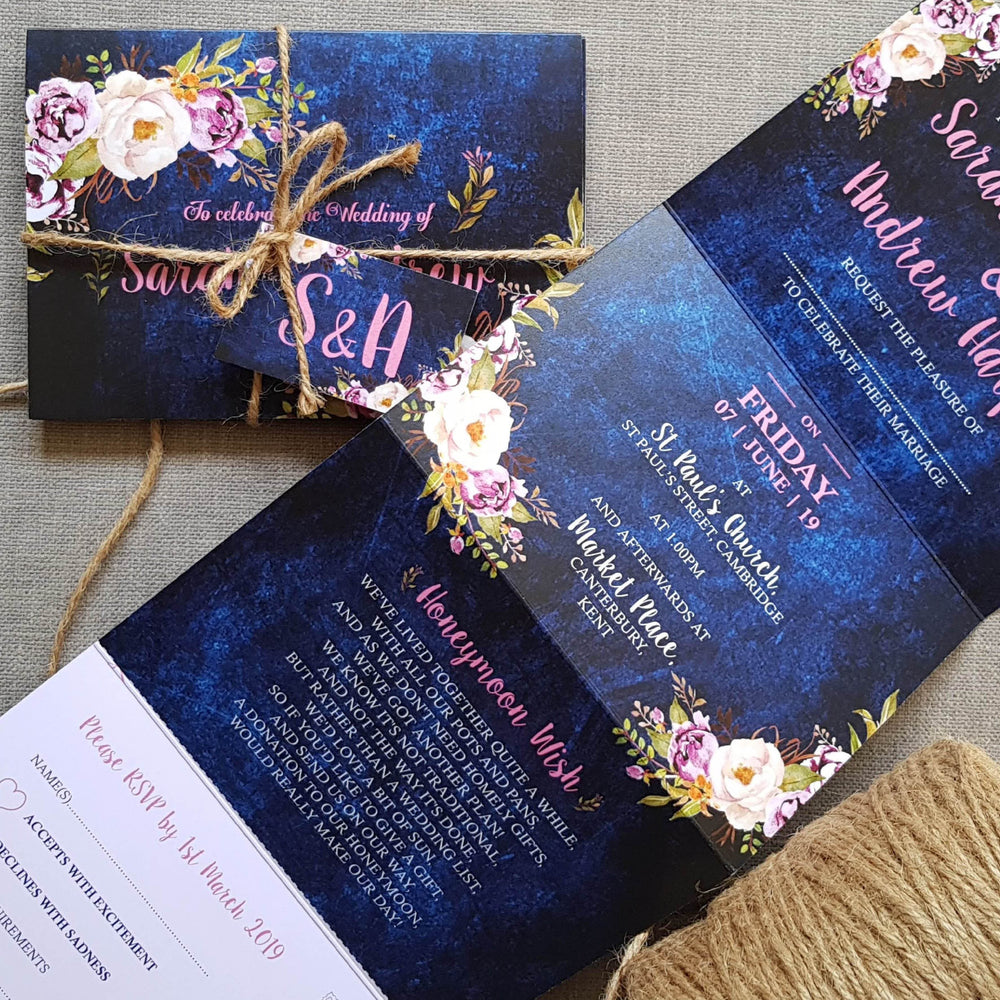 Navy Pretty Floral Concertina Wedding and Evening Invitation , Sienna Mai Personalised Wedding Invitations