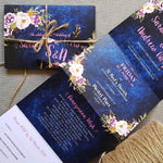 Navy Pretty Floral Concertina Wedding Invitation