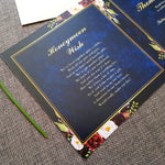 Navy Wild Floral Trifold Wedding Invitation , Sienna Mai Personalised Wedding Invitations
