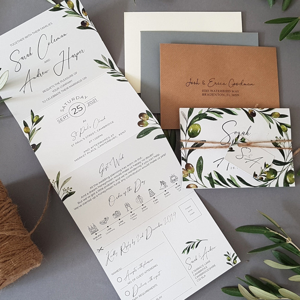 Olive Concertina Wedding Invitations