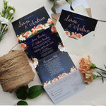 Peach Floral Concertina Wedding and Evening Invitation