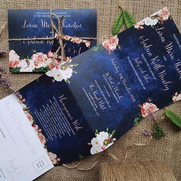Peach Floral Concertina Wedding Invitations Sample