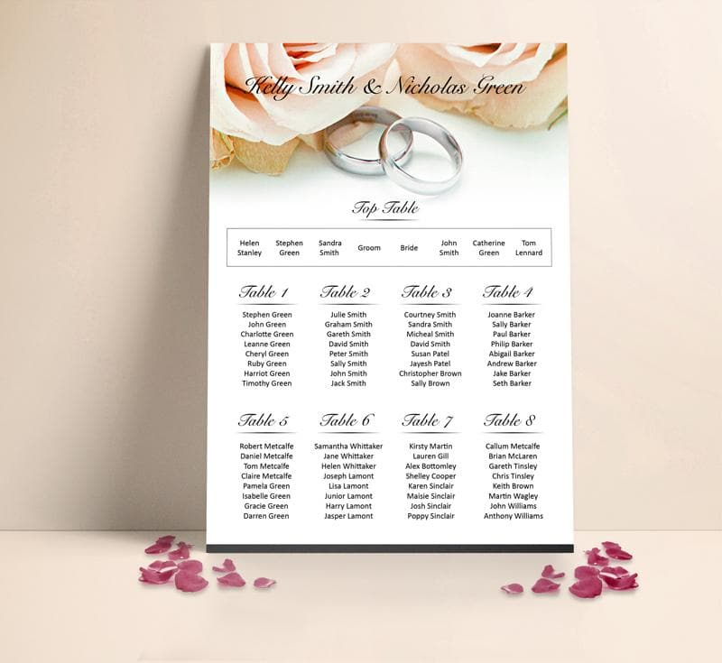 Peach Roses and Silver Rings Table plan , Sienna Mai Personalised Wedding Invitations