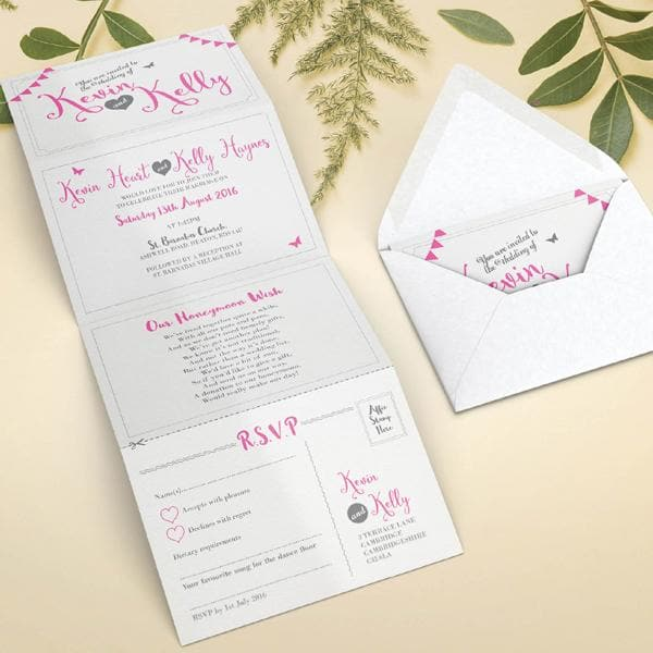 Pink Bunting Concertina Wedding Invitations Sample , Sienna Mai Personalised Wedding Invitations