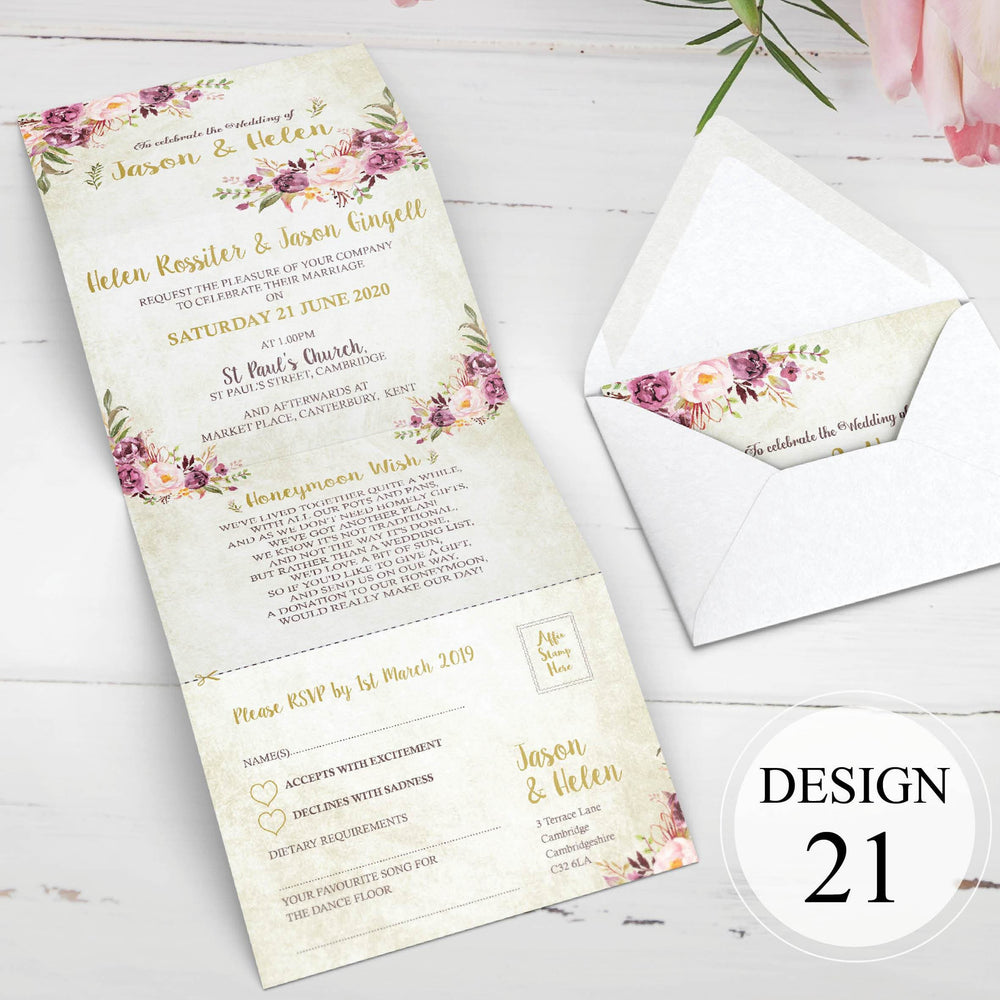 Pink Floral Concertina Wedding Invitations Sample