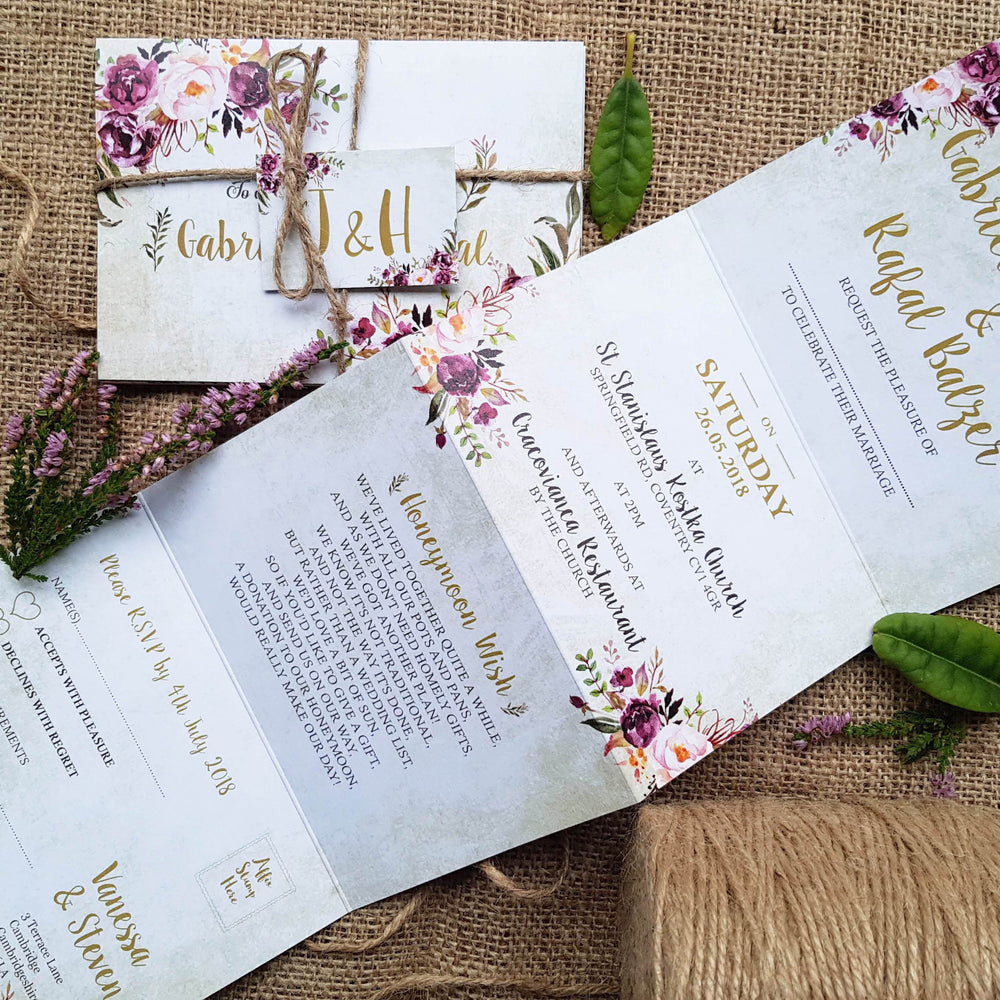 Pink Floral Concertina Wedding Invitations