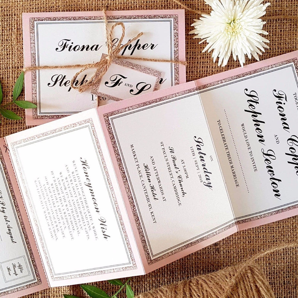 Pink Glitter Concertina Wedding and Evening Invitation