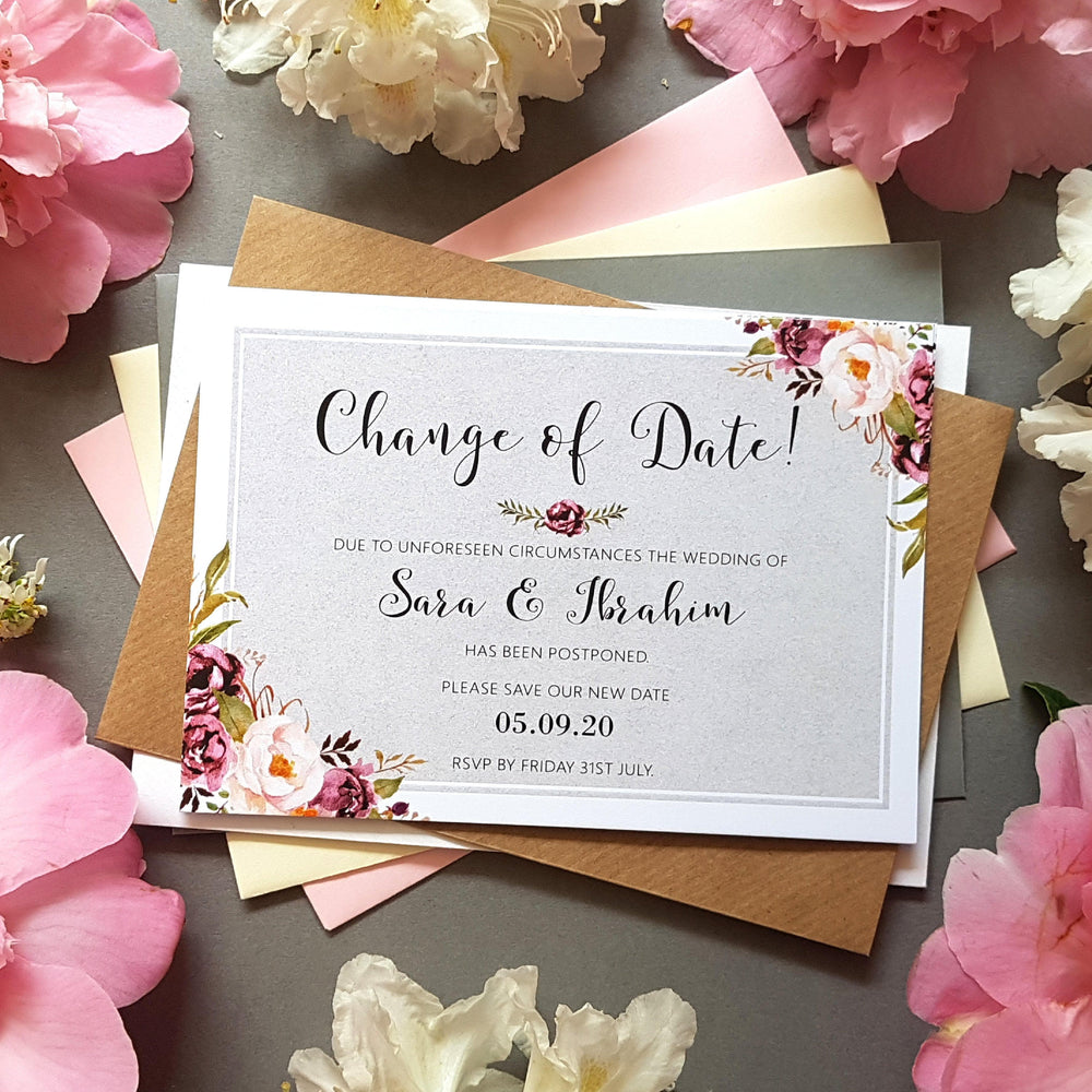 Pink & grey change of date cards