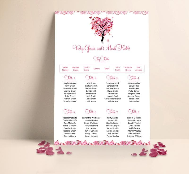 Pink Heart Tree Table plan , Sienna Mai Personalised Wedding Invitations