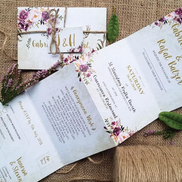 Pink Wild Floral Concertina Wedding Invitations Sample