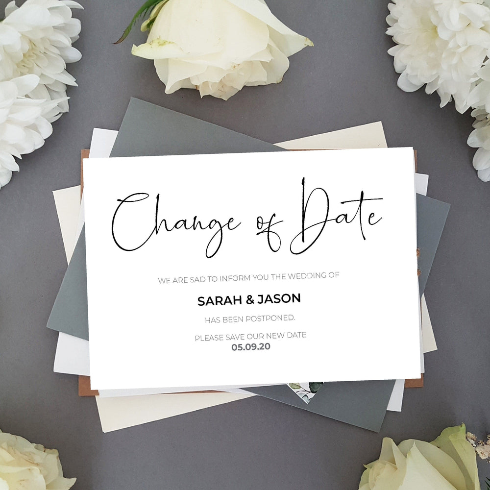 Postponed change of date cards , Sienna Mai Personalised Wedding Invitations