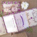 Purple Country Cottage Concertina Wedding Invitation