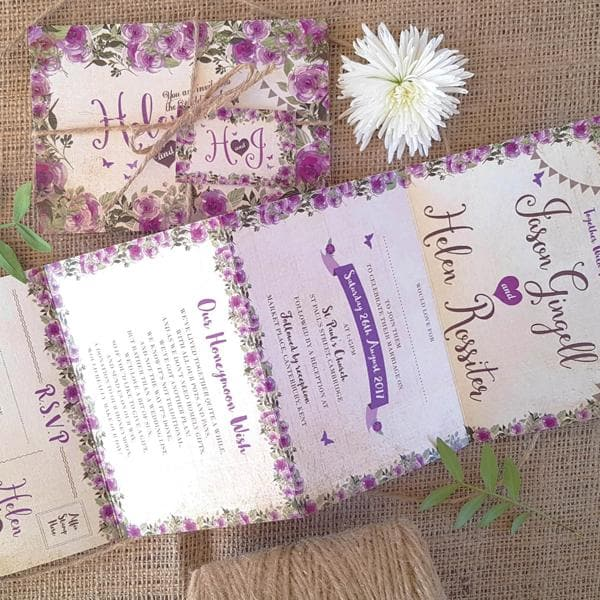 Purple Floral Concertina Wedding Invitations Sample