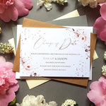Rose gold change of date cards