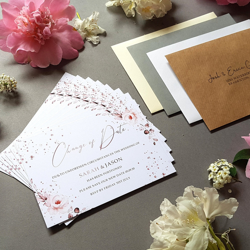 Rose gold change of date cards , Sienna Mai Personalised Wedding Invitations