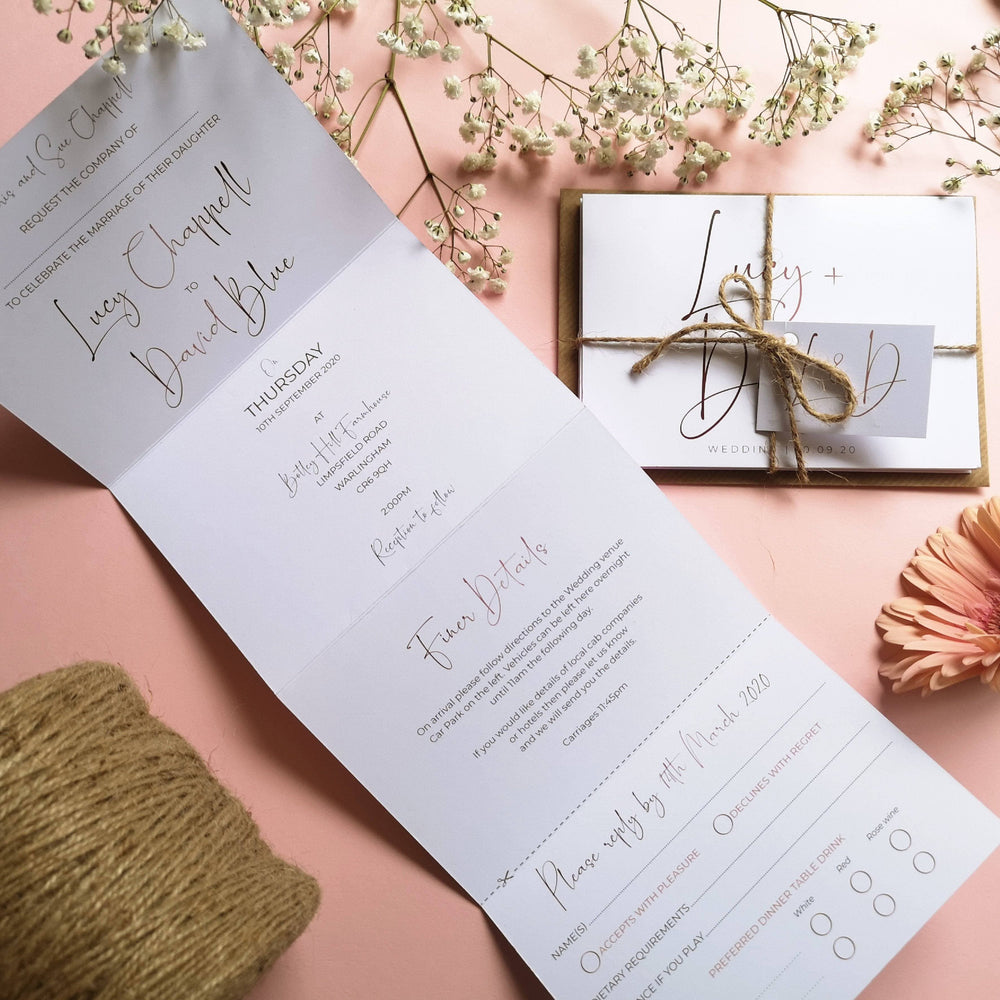 Rose gold Minimalist Concertina Wedding Invitations