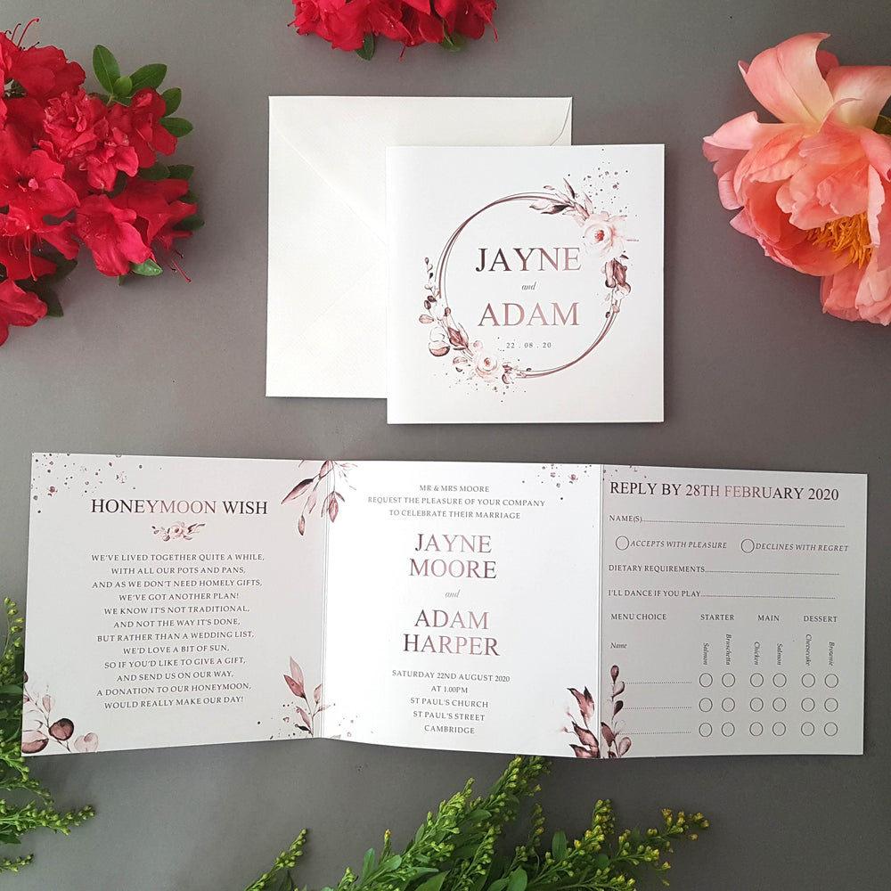 Rose Gold Trifold Wedding Invitations Sample