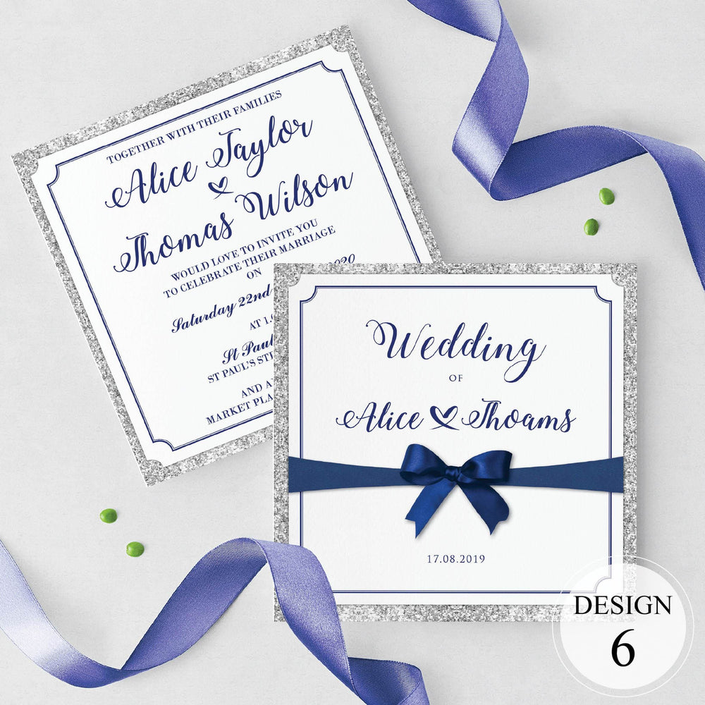 Royal Blue Ribbon & Bow Evening Invitation