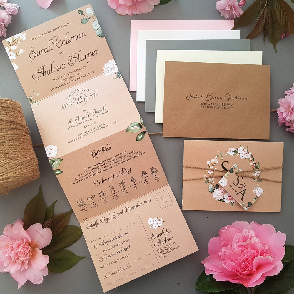 Rustic Blush Concertina Wedding Invitations Sample