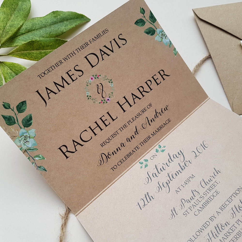 Rustic Floral Concertina Wedding Invitations Sample , Sienna Mai Personalised Wedding Invitations