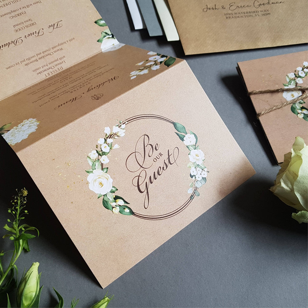 Rustic Kraft Be Our Guest White Floral Concertina Wedding Invitations Sample , Sienna Mai Personalised Wedding Invitations