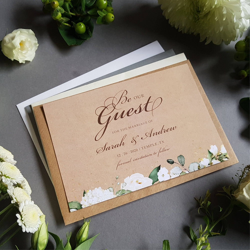 Rustic Kraft Be our guest white floral save the date cards , Sienna Mai Personalised Wedding Invitations