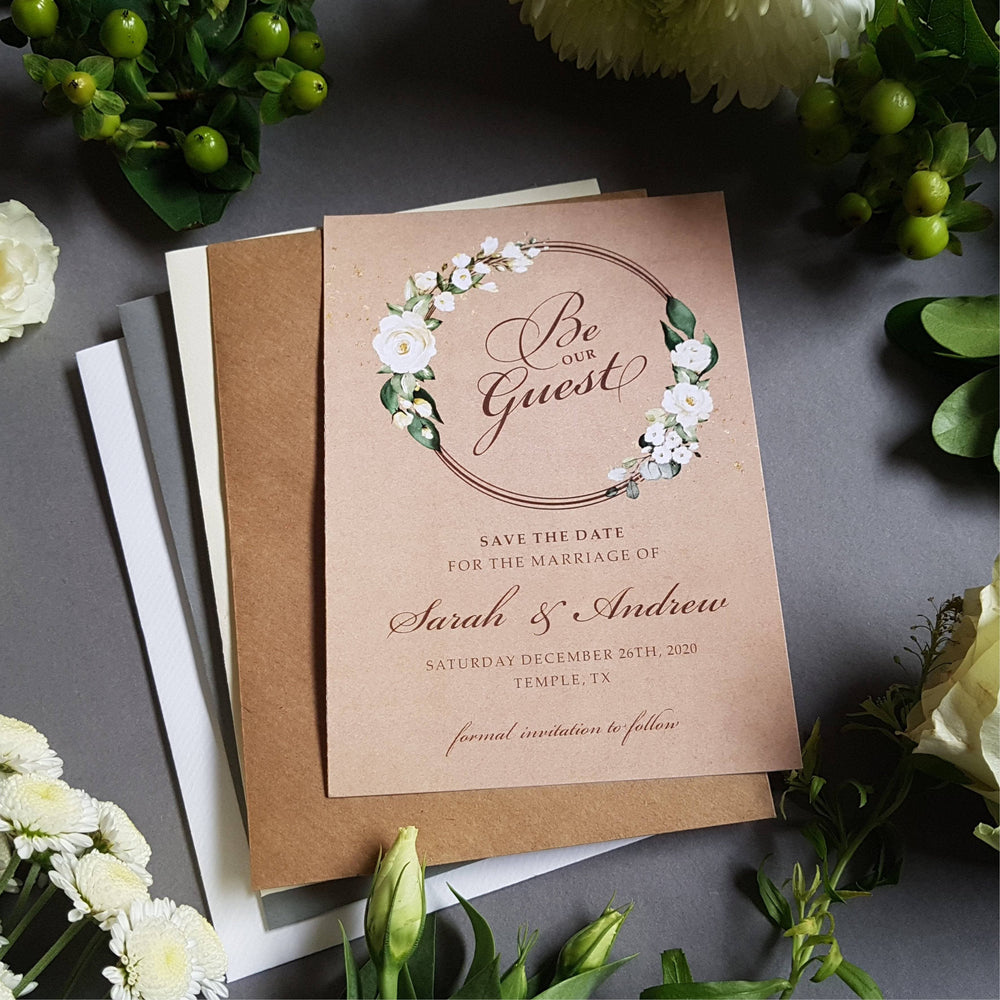Rustic Kraft Be our guest white floral save the date cards