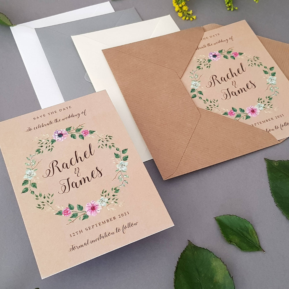Rustic Wreath Save the Date Cards