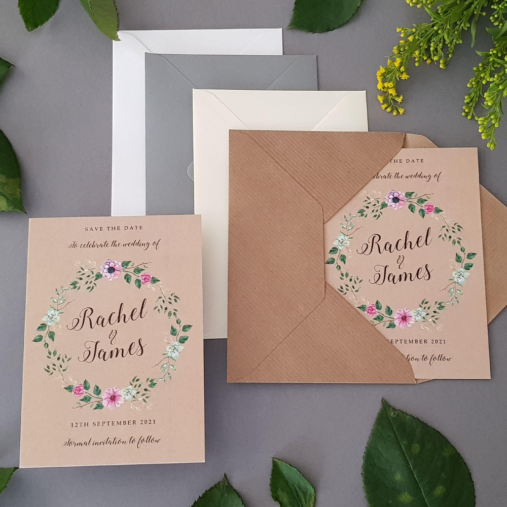 Rustic Wreath Save the Date Cards , Sienna Mai Personalised Wedding Invitations