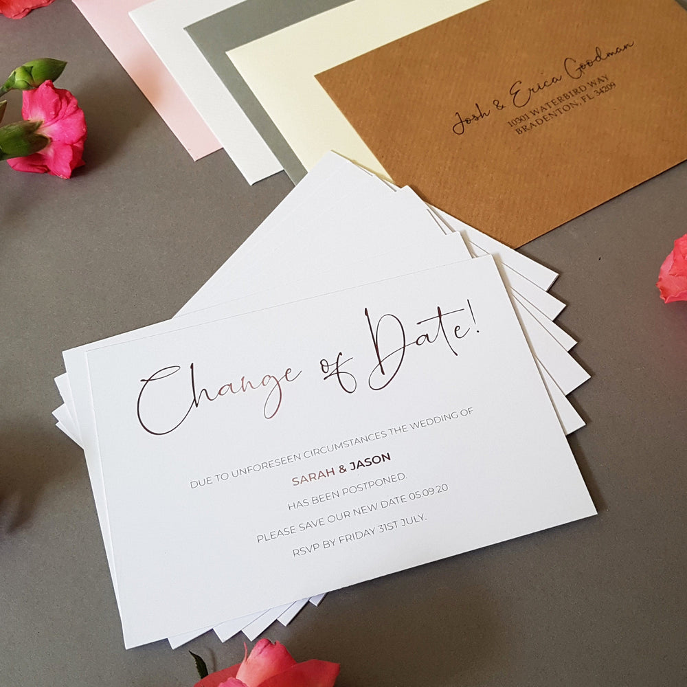Script change of date cards , Sienna Mai Personalised Wedding Invitations